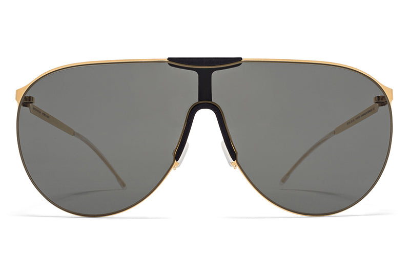 MYKITA - Agave Mylon Sunglasses MH16 - Gold/Pitch Black with Dark Grey Solid Lenses