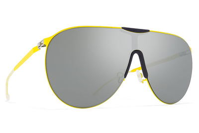 MYKITA - Agave Mylon Sunglasses MH19 - Neon Yellow/Navy Blue with Silver Flash Lenses