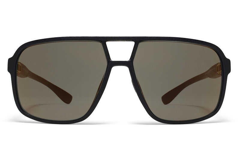 KITA Mylon Sunglasses - Air MD1 - Pitch Black with Pale Gold Flash Lenses