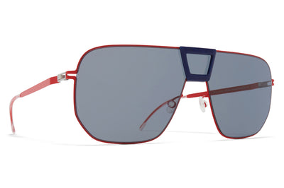 MYKITA - Cayenne Sunglasses MH42 - Coral Red/Navy Blue with Dark Blue Solid Shield