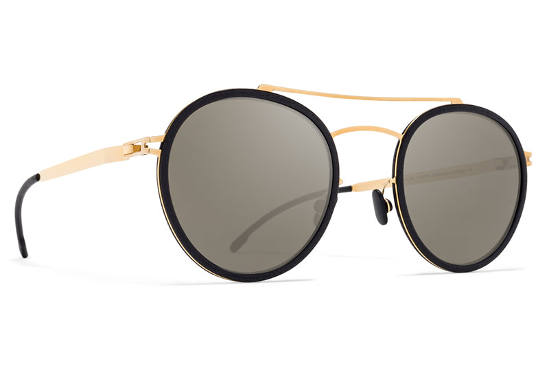 MYKITA Mylon - Hay Sunglasses MH7 - Pitch Black/Glossy Gold with Gun Metal Flash Lenses