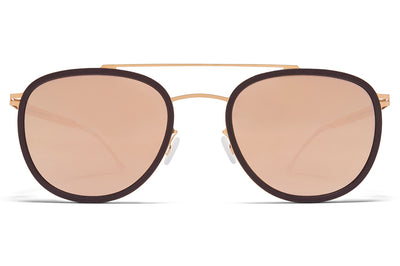 MYKITA - Hops Mylon Sunglasses MH8 - Ebony Brown/Champagne Gold with Champagne Gold Lenses