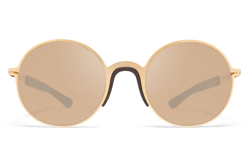 MYKITA Mylon Sunglasses - Ivy MH2 - Gold/Ebony Brown with Sienna Brown Flash Lenses