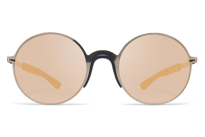 MYKITA Mylon Sunglasses - Ivy MH4 - Shiny Graphite/Navy Blue with Pearly Gold Flash Lenses