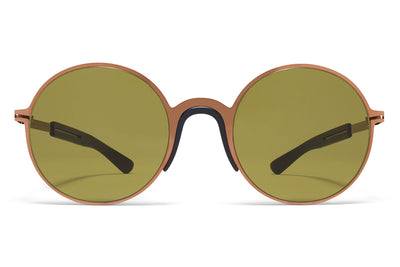 MYKITA Mylon Sunglasses - Ivy MH5 - Shiny Copper/Pitch Black with Holly Green Solid Lenses