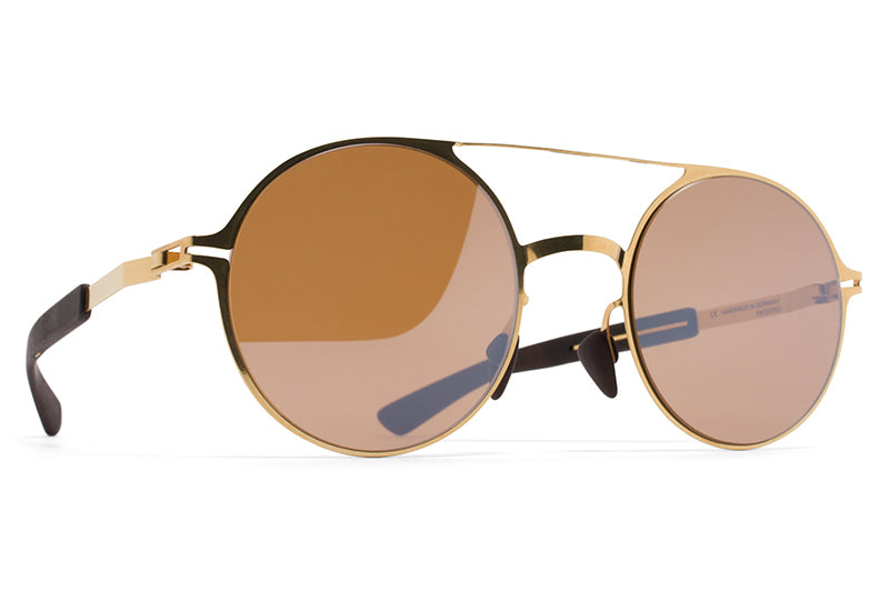 MYKITA Mylon Sunglasses - Lupine MH2 - Gold/Ebony Brown with Sienna Brown Flash Lenses