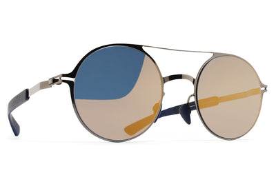 MYKITA Mylon Sunglasses - Lupine MH4 - Shiny Graphite/Navy Blue with Pearly Gold Flash Lenses