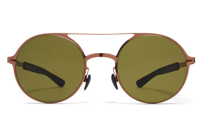 MYKITA Mylon Sunglasses - Lupine MH5 - Shiny Copper/Pitch Black with Holly Green Solid Lenses