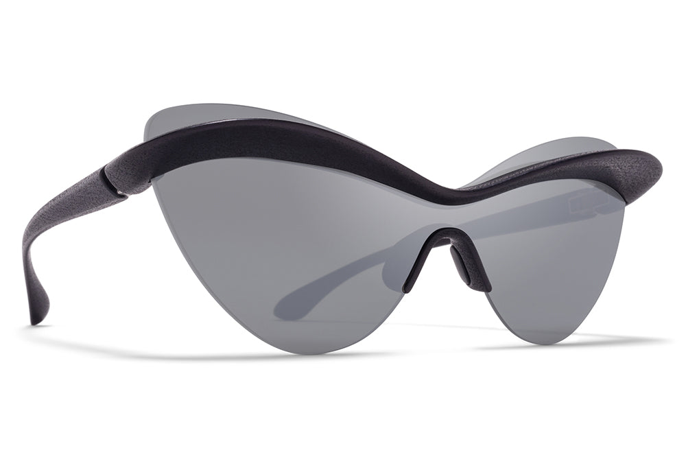 MYKITA + Maison Margiela - MMECHO001 Sunglasses MD1 - Pitch Black with Silver Flash Shield