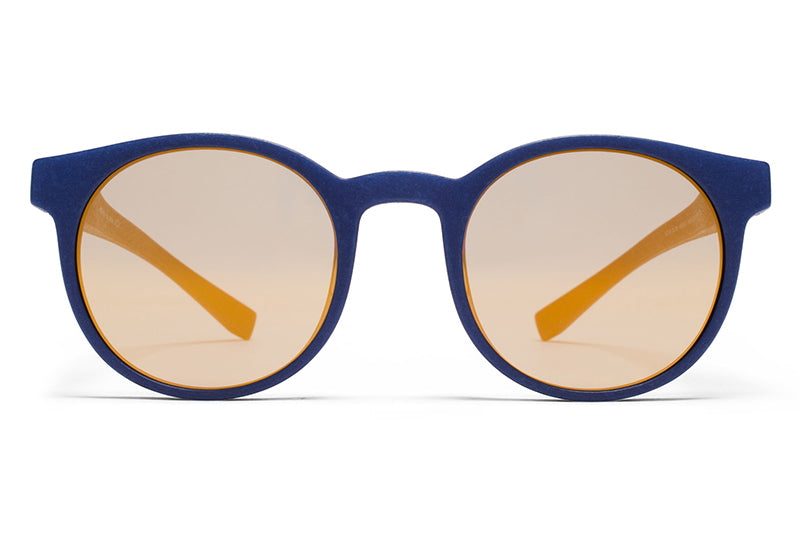 MYKITA Mylon Sunglasses - Omega MD25 - Navy Blue with Pearly Gold Flash Lenses