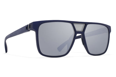 MYKITA Mylon Sunglasses - ProdigyMME4 - Navy Blue/Silver Mesh with Light Silver Flash Lenses