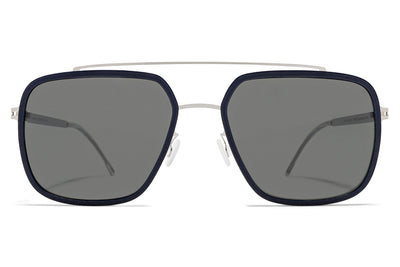 MYKITA Mylon - Reed Sunglasses MH10 - Navy Blue/Shiny Silver with Mirror Black Lenses