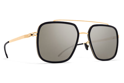 MYKITA Mylon - Reed Sunglasses MH7 - Pitch Black/Glossy Gold with Gun Metal Flash Lenses