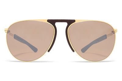MYKITA Mylon Sunglasses - Rye MH2 - Gold/Ebony Brown with Sienna Brown Flash Lenses
