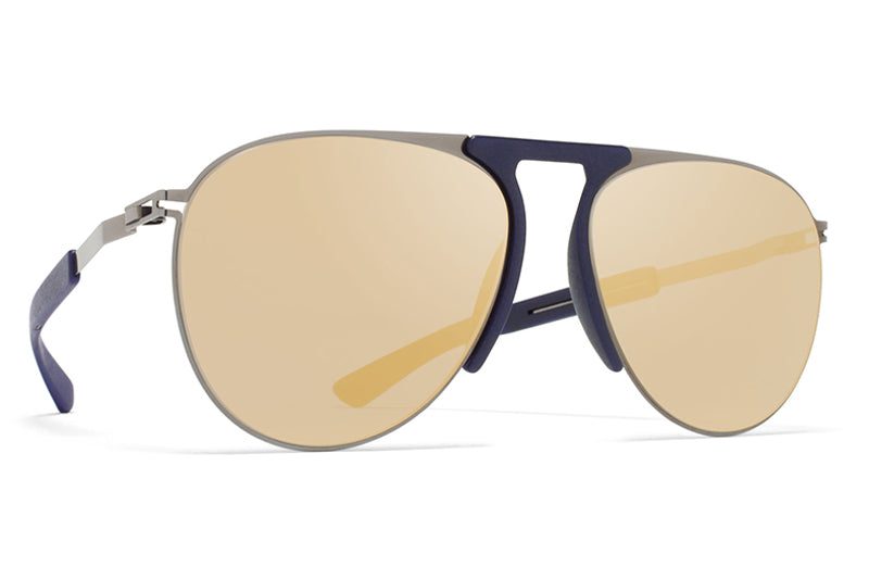 MYKITA Mylon Sunglasses - Rye MH4 - Shiny Graphite/Navy Blue with Pearly Gold Flash Lenses