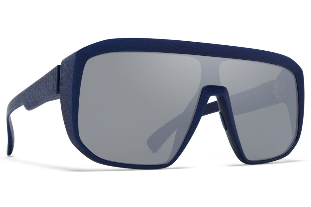 MYKITA MYLON - Shift Sunglasses MD25 - Navy Blue with Silver Flash Shield
