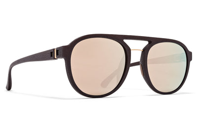 MYKITA Mylon - Sting Sunglasses MMT1 - Ebony Brown/Champagne Gold with Champagne Gold Lenses