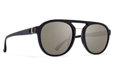 MYKITA Mylon - Sting Sunglasses MMT3 - Pitch Black/Glossy Gold with Gun Metal Flash Lenses