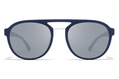 MYKITA Mylon Sunglasses - Sting MMT4 - Navy Blue/Silver with Light Silver Flash Lenses