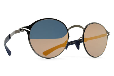 MYKITA Mylon Sunglasses - Sycamore MH4 - Shiny Graphite/Navy Blue with Pearly Gold Flash Lenses