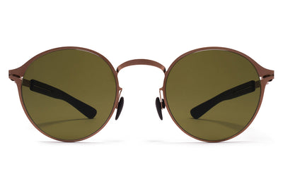 MYKITA Mylon Sunglasses - Sycamore MH5 - Shiny Copper/Pitch Black with Holly Green Solid Lenses