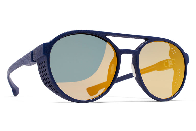 MYKITA Mylon Sunglasses - Targa MD25 - Navy Blue with Pearly Gold Flash Lenses