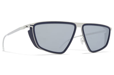 MYKITA MYLON - Tribe Sunglasses MH10 - Navy Blue/Shiny Silver with Silver Flash Lenses