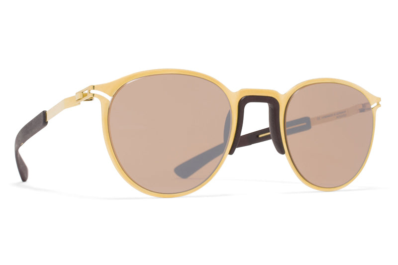 MYKITA Mylon Sunglasses - Tulip MH2 - Gold/Ebony Brown with Sienna Brown Flash Lenses