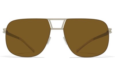 MYKITA - Al Sunglasses Matte Silver with Raw Brown Solid Lenses