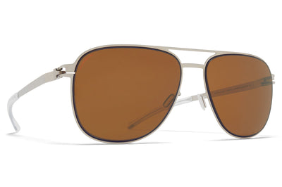 MYKITA - Caleb Sunglasses Silver/Blue Velvet with Polarized Pro Amber Brown Lenses