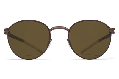 MYKITA - Carlo Sunglasses Mocca/Dark Sand with Raw Green Solid Lenses
