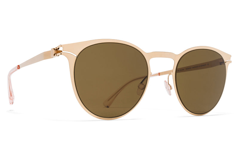 MYKITA Sunglasses - Federico Champagne Gold with Raw Brown Solid Lenses