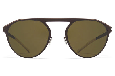 MYKITA - Paulin Sunglasses Dark Brown/Dark Sand with Raw Green Solid Lenses
