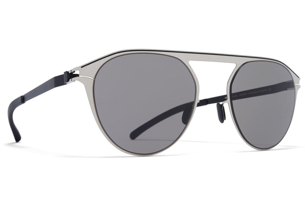 MYKITA - Paulin Sunglasses Silver/Black with Dark Grey Solid Lenses