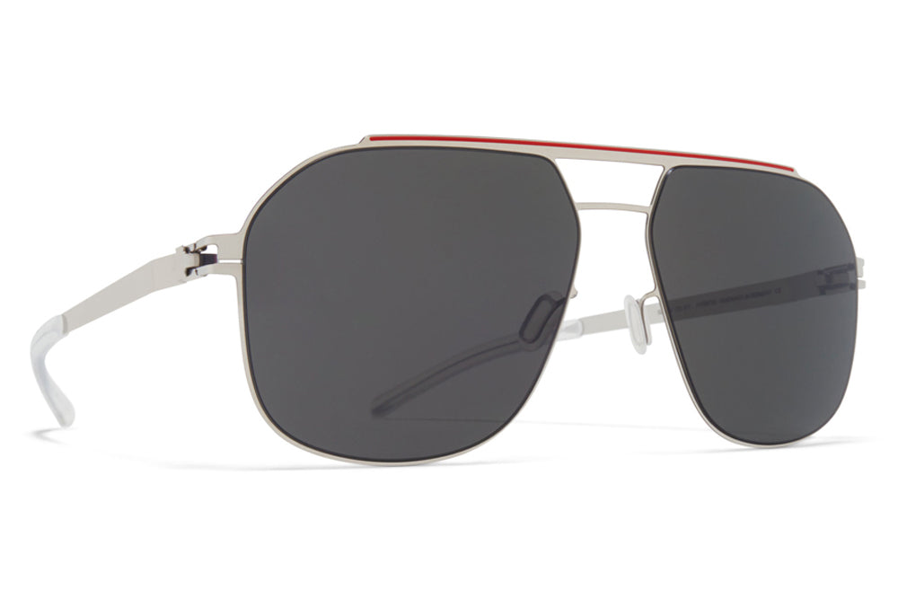 Silver/Coral Red with Dark Grey Solid Lenses