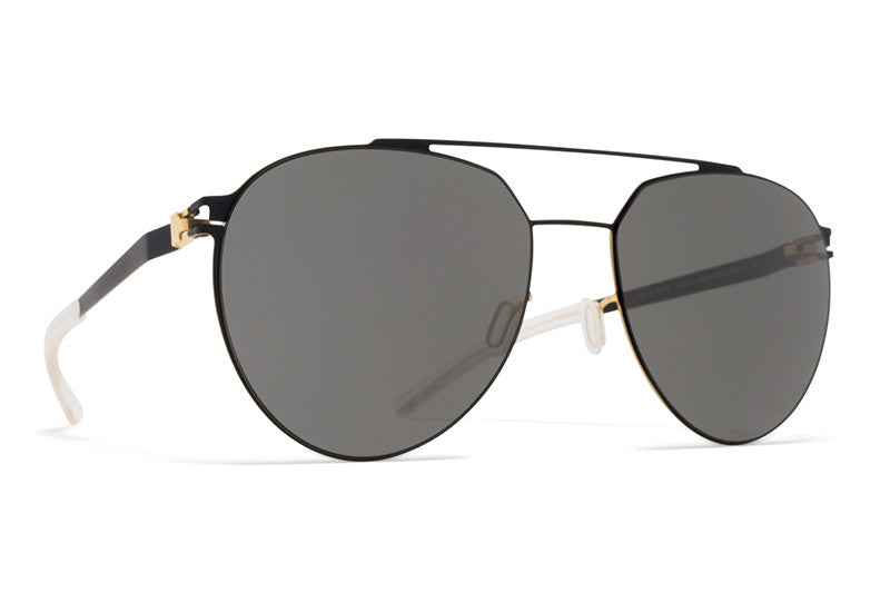 MYKITA Sunglasses - Sylvester  Black/Gold Edges with Dark Grey Solid Lenses