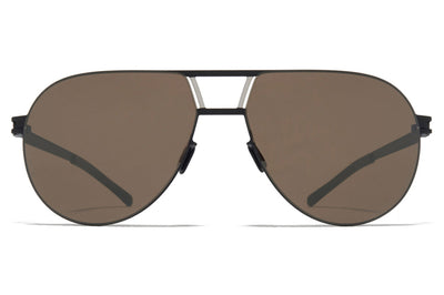 MYKITA - Zane Sunglasses Black/Silver with Muddy Brown Flash Lenses