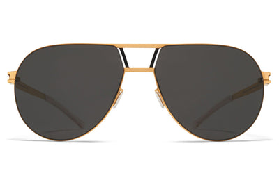 MYKITA - Zane Sunglasses Gold/Black with Dark Grey Solid Lenses