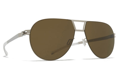 MYKITA - Zane Sunglasses Matte Silver with Raw Brown Solid Lenses