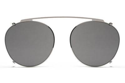 MYKITA Sunglasses - Percy | Clip On Shades Shiny Silver with Grey Solid Lenses