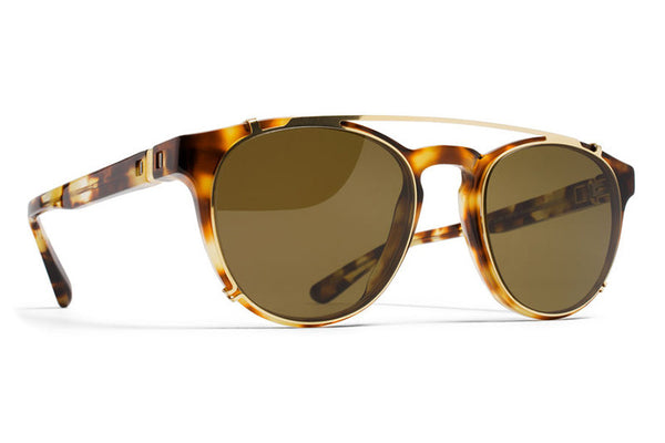 MYKITA Sunglasses - Geoffrey | Clip On Shades Glossy Gold with Raw Brown Solid Lenses