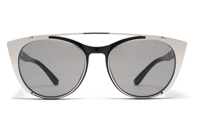 MYKITA Sunglasses - Teresa | Clip On Shades Shiny Silver with Grey Solid Lenses