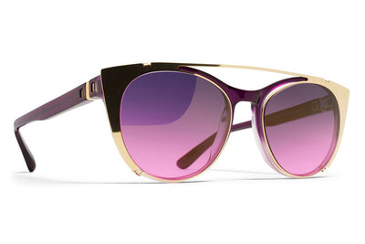 MYKITA Sunglasses - Teresa | Clip On Shades Glossy Gold with Purple Pink Gradient Lenses