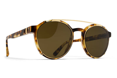 MYKITA Sunglasses - Percy | Clip On Shades Glossy Gold with Raw Brown Solid Lenses