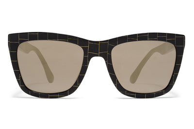 MYKITA STUDIO - Studio 3.2 Sunglasses Black/Gold Square with Brilliant Grey Solid Lenses