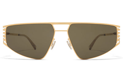 MYKITA STUDIO - Studio 8.1 Sunglasses Glossy Gold with Raw Green Solid Lenses