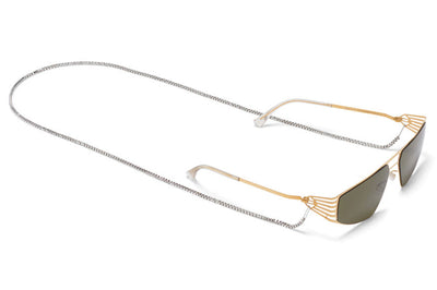 MYKITA STUDIO - Studio 8.1 Sunglasses Glossy Gold with Raw Green Solid Lenses and Neck Chain