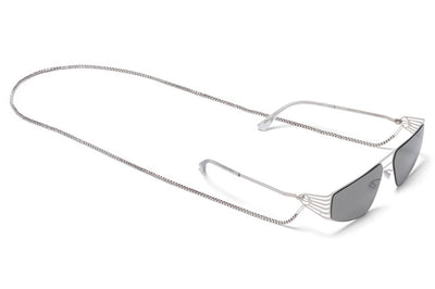 MYKITA STUDIO - Studio 8.1 Sunglasses Shiny Silver with Grey Solid Lenses and neck chain