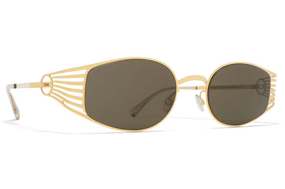 MYKITA STUDIO - Studio 8.2 Sunglasses Glossy Gold with Raw Green Solid Lenses