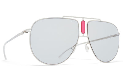 MYKITA STUDIO - Studio 9.1 Sunglasses S16 - Shiny Silver/Garnet with Soft Grey Solid Lenses